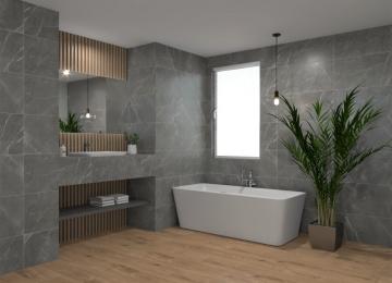 Badkamer marmer met hout
